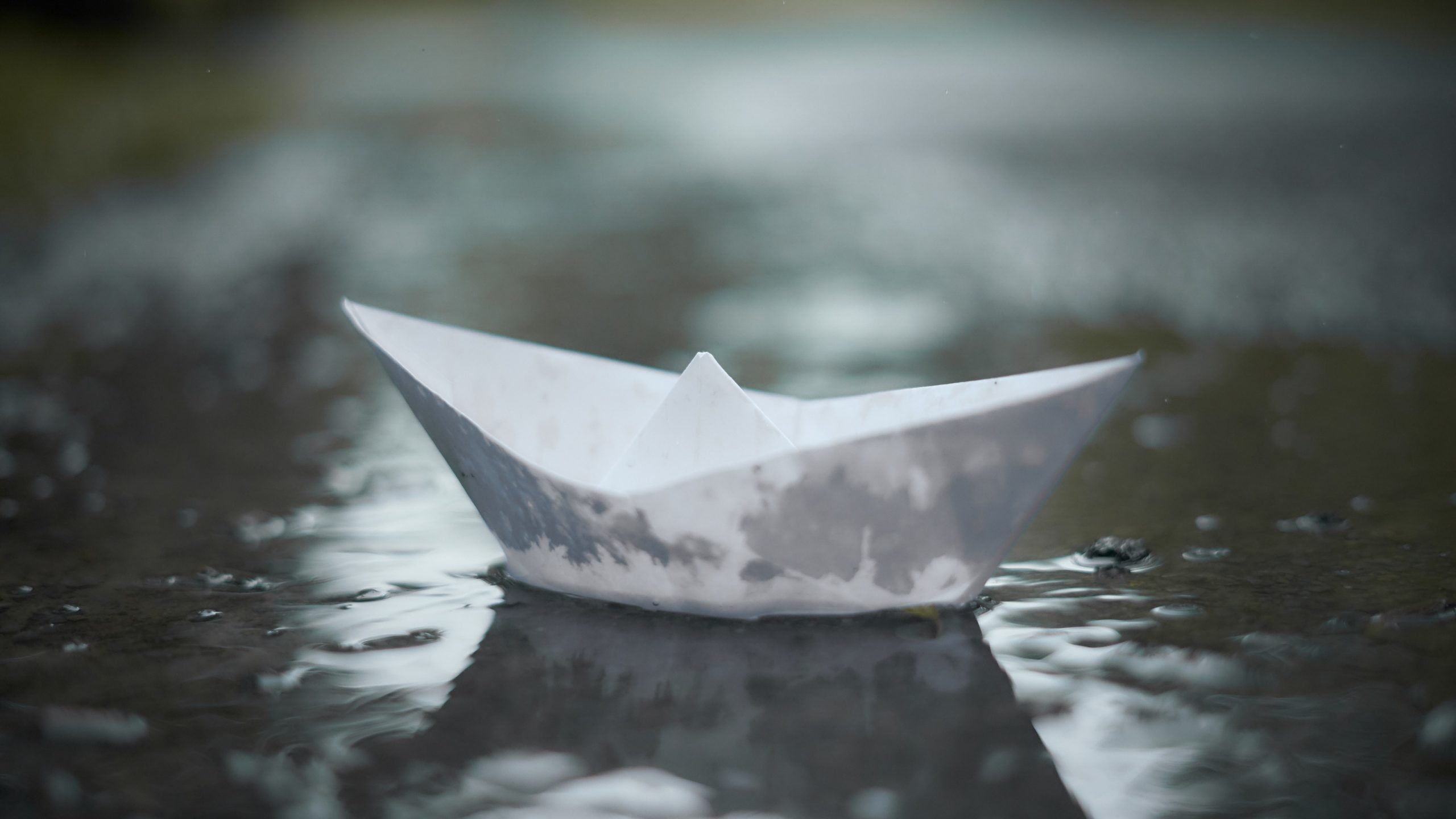 shallow focus photography of white paper boat on body of water