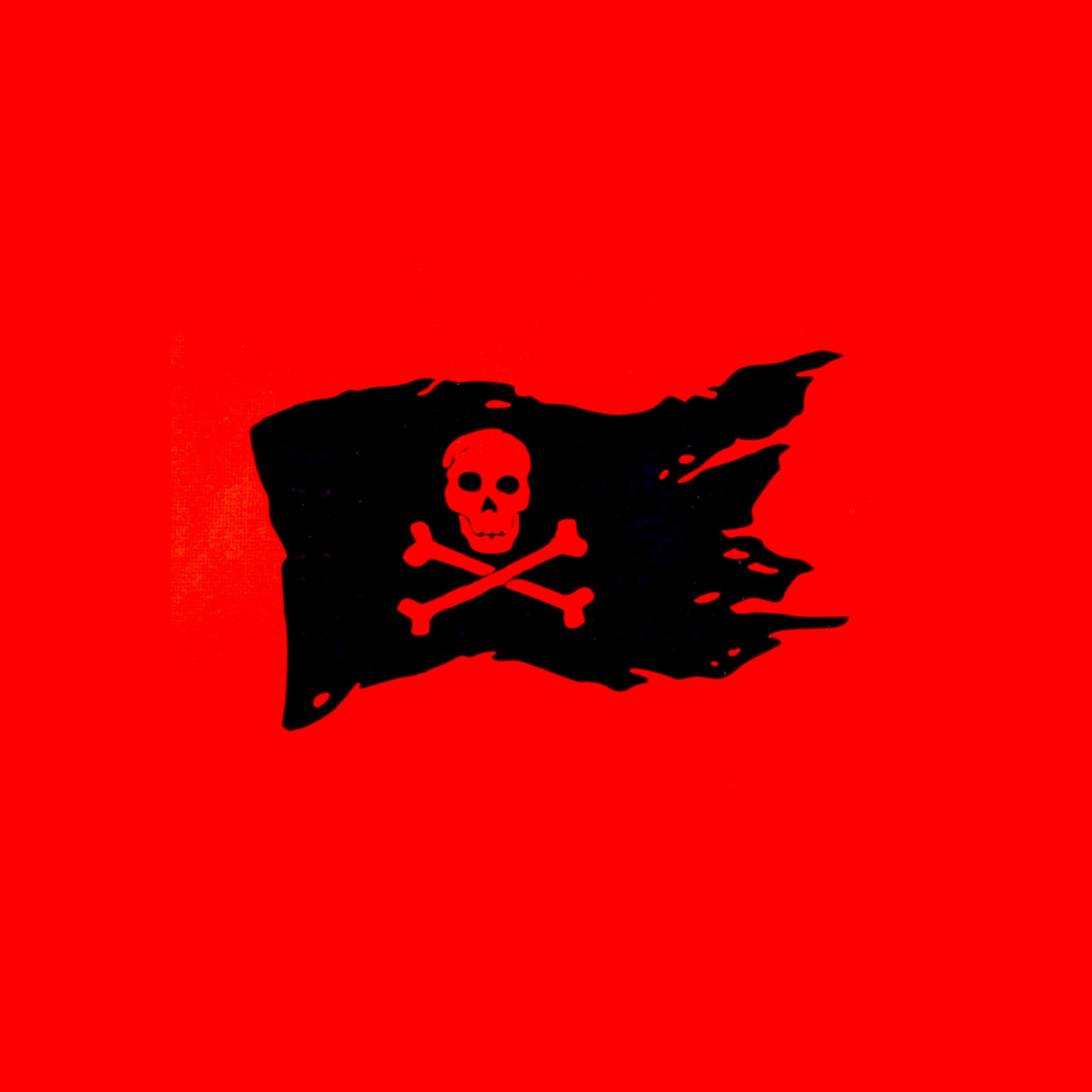 Pirate flag on red background